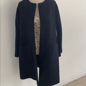 COS collarless 100 wool coat size 6